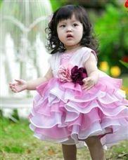 Yarn Knee Length Layered Flower Girl Dresses