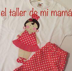 Conjunto de La gitana bordado a mano con lunares blancos sobre fondo rojo para niña