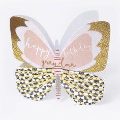 "Beautiful butterfly birthday card for grandmas, with caption: ""Happy birthday Grandma"""