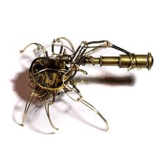 Steampunk Spider Looking through a telescope!