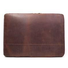 Slim Brown Leather Portfolio Briefcase for Men Distressed Leather, Vintage Leather, Brown Leather, Leather Laptop Case, Laptop Bag, Leather Portfolio, Briefcase For Men, Macbook Case, Monogram