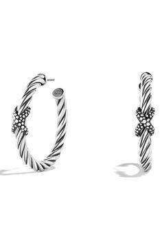 Women's David Yurman 'X' Hoop Earrings with Diamonds - Diamond
