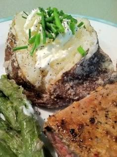 Best Baked Potato! Lightly rub surface with olive oil (butter could be used), then roll in coarse kosher or sea salt. Baked on sheet pan on middle rack of oven at 400 degrees for one hour. Test for done by inserting a knife to see if tender all the way through