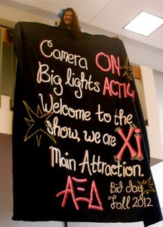 thebookofheatherbee:    our bid day banner- bid day fall 2012! <3