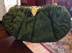 Green brocade evening bag.  Goodwill Industries $5.