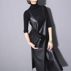 Find More Dresses Information about [soonyour] 2016 autumn new Fashion temperament goddess section side split PU leather solid black harness dress AS17641,High Quality dress with long sleeve,China dresses 70s Suppliers, Cheap dress asda from soonyour fashionable Store on Aliexpress.com