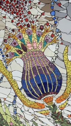 detail -  mosaic garden wall in the Netherlands - Rotterdam