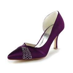 Wedding Shoes - $63.99 - Women's Satin Stiletto Heel Closed Toe Pumps With Rhinestone  http://www.dressfirst.com/Women-S-Satin-Stiletto-Heel-Closed-Toe-Pumps-With-Rhinestone-047024514-g24514