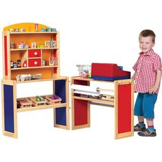 Play a master shop keeper in this super-sized play shop. It includes two counters, one being a full sized display with shelves and drawers for products, whilst the other is a till to serve customers and sort out their change.