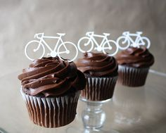 12 Acrylic Road Bicycle Cupcake Toppers by ThroughThickandThin, $12.00
