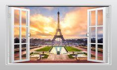 Eiffel tower in Paris, France 3D Window Scape Graphic Art Mural Wall Sticker