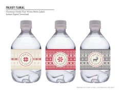 Christmas Nordic Knit Water Bottle Labels by FolksyFloral on Etsy, $2.50