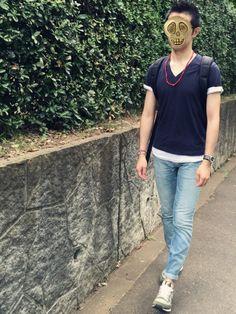ハンドメイドの赤のアクセを全身に着けたコーデですm(_ _)m ギャップのジーンズは一年穿きましたが