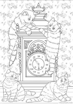What Time Is It? - Printable Adult Coloring Page from Favoreads (Coloring book pages for adults and kids, Coloring sheets, Coloring designs) Puppy Coloring Pages, Printable Adult Coloring Pages, Coloring Book Pages, Coloring Pages For Kids, Coloring Sheets, Elephant Coloring Page, Apple Coloring, Christmas Drawing, Harry Potter