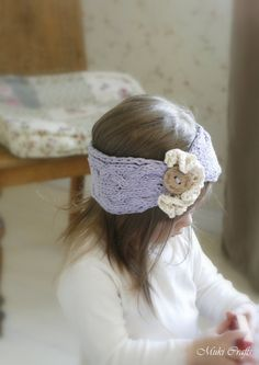 KNITTING PATTERN cable headband headwrap Bianca with ruffles and button (newborn, baby, toddler, kids, woman sizes)