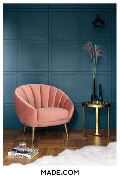 Art deco scalloped velvet accent chair deco interior living room 10 Interior 2020 Trends That Will Be Carrying On Next Year: Art Deco Accent Chair Art Deco Living Room, Living Room Chairs, Living Room Designs, Dining Chairs, Art Of Living, Dining Table, Salon Art Deco, Art Deco Home, Art Deco Decor