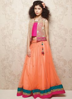 Orange Net Kids Lehenga Choli From Doll Flaunts Bright Pink Choli Accessorized With Embroidery, Zardosi, Beads And Pearls Embellished Jacket. Scattered Pearl Enhancements And Striped Hemline Compliment The Look. Little Girl Skirts, Little Dresses, Cute Dresses, Girls Dresses, Kids Indian Wear, Kids Ethnic Wear, Kids Lehenga Choli, Ghagra Choli, Sarees