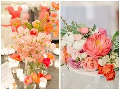 Coral Flower Centerpieces | coral table flowers on fws real life wedding coral garden roses coral ...