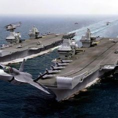 British Aircraft Carrier with F35 Fighters