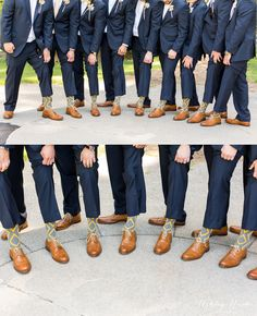 The guys really stepped up their sock & shoe game with these! Such a great groomsmen gift that can be enjoyed for a long time.   Groomsmen gifts. Wedding party gift ideas. Light brown leather shoes. Banana Republic. Aldo. Navy blue suits. Wedding attire.   Ashley Nicole Photography | Destination wedding & portrait photographer based out of Raleigh, North Carolina.