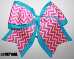 Pink Chevron on Turqoise Cheer Dance or Athletic Bow Large 3 Inches Wide