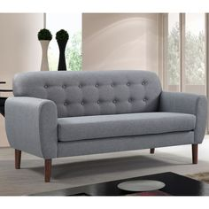 Shop for Carson Carrington Claiborne Modern Tufted Linen Fabric Loveseat. Get free delivery On EVERYTHING* Overstock - Your Online Furniture Store! Furniture Direct, Online Furniture Stores, Modern Furniture, Perfect Day, Best Sofa, Architecture, Linen Fabric, Decoration, Love Seat