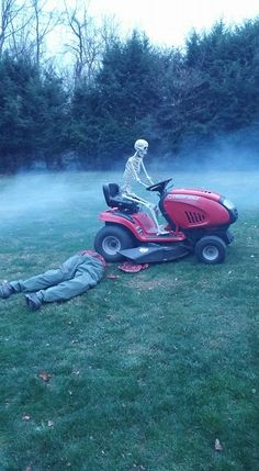 Riding mower mishap:  Easiest and coolest prop ever.  Used old  pants, boots, and Great Stuff Expanding Foam product painted grey and red for the intestines.  Poseable skeleton for around $70.00.
