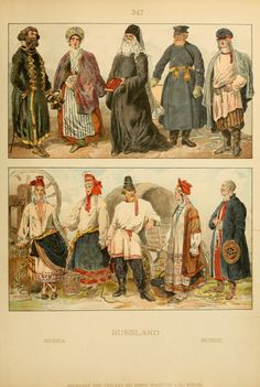 Volume 5 of Geschichte des Kostüms (1905) provides these images of traditional Russian costumes, Turning the Book Wheel