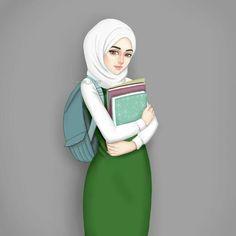 Back to school ⏩ Girly M, Cute Muslim Couples, Muslim Girls, Beautiful Muslim Women, Beautiful Hijab, Girl Cartoon, Cartoon Art, Photo Islam, Girly Drawings