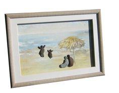 Pebble art home décor, beach landscape oil painting, personalized family of four gift, unique framed stone art work, coastal beach décor