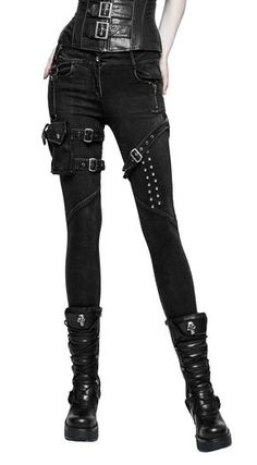 Black jeans pants with straps and pockets, rock gothic Punk Rave
