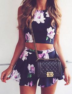 Floral two-piece set.