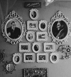 Untitled Frame Wall Collage, Frames On Wall, Walpaper Iphone, Iphone Wallpaper, Victorian Picture Frames, Front Room Decor, Molduras Vintage, Hanging Pictures, Picture Wall