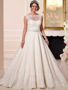 A-line Wedding Dresses with Detachalbe Illusion Lace Jacket
