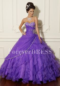 Purple Sequins And Lace Ruffled la glitter quinceanera dress