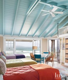 Bright Colored Contemporary Bunkroom