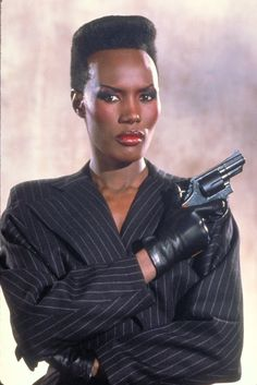 "Grace Jones as May Day from the James Bond 1985 film, ""A View to a Kill."""