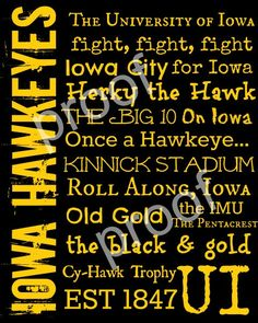 University of Iowa Hawkeyes Subway Art Print by TheFreckledCrayon
