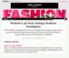 Friday, 21 November 2014: Alfies is included in Telegraph's (online) 'Britain's 50 Best Fashion Boutiques'.
