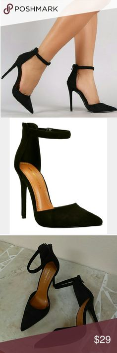 Black suede classic high heel ankle strap pump Updated 12/9/16 Black suede classic high heel ankle strap pump Heel size: 5 inches True to size Shoes Heels