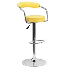 Contemporary Adjustable Height Barstool with Arms and Chrome Base - Yellow Vinyl