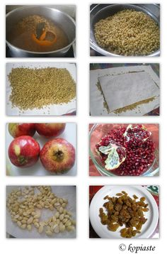 Ingredients for making the Koliva. Orthodox Christianity, Arabic Food, Greek Recipes, Berries, Cooking Recipes, Vegetarian, Traditional, Baking, Religion