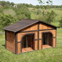 Boomer & George Darker Stain Duplex Dog House with FREE Dog Doors