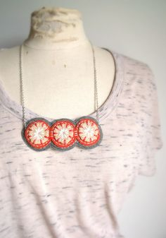 Wool Felt Statement Necklace / Hand Embroidered / Coral and Grey