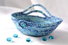 Your place to buy and sell all things handmade Cute Desk Accessories, Flower Pens, Fabric Bowls, Unique Gifts, Handmade Gifts, Rope Basket, Blue Home Decor, Cotton Rope, Basket Ideas