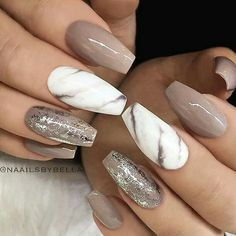 Taupe and marble nails