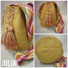 Mochila Wayuu hecha a mano por AbigailShop en Etsy, $90.00 Crochet Home, Knit Crochet, Mochila Crochet, Easy Crochet Stitches, Tapestry Crochet, Embroidery Techniques, Knitted Bags, Crochet Fashion, Hand Knitting