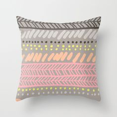 """THROW #PILLOW / COVER (16"""" X 16"""")  $20.00, #pink, #gray, #yellow, #pattern"""