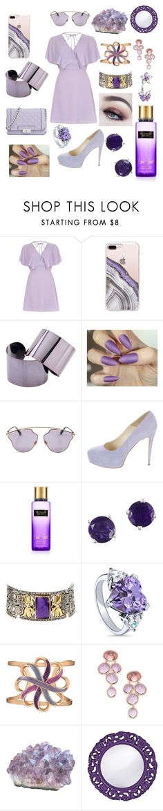 """""""Purple ☂️🔮💜"""" by fashionableicon ❤ liked on Polyvore featuring River Island, Steve Madden, Maison Margiela, Christian Dior, Brian Atwood, Victoria's Secret, Effy Jewelry, Konstantino, BERRICLE and Avon"""