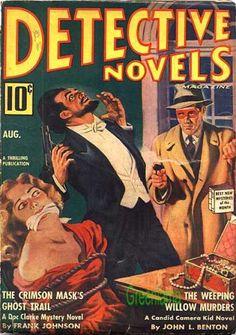 Detective Novels magazine pulp cover art, man men woman dame hostage captive kidnap tied bound gagged pistol pistols gun guns shooting robbery rescue danger